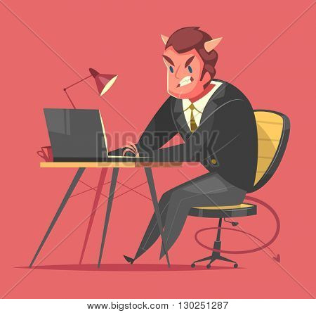 Businessman working at his office desk. Cartoon style character. Vector illustration.