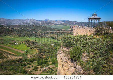 Ronda Spain-3 May 2014: Ronda Spain buildings on the Tajo Gorge.
