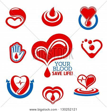 Glossy red hearts icons made up of drops of blood with heartbeat lines and hand with blood drop symbol. Use as blood donation, health care and medical charity themes design