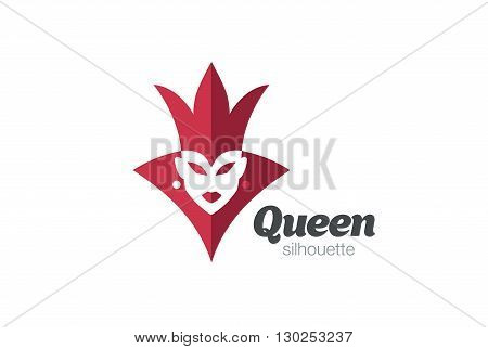 Queen Woman silhouette Logo vector Crown Negative space icon.
