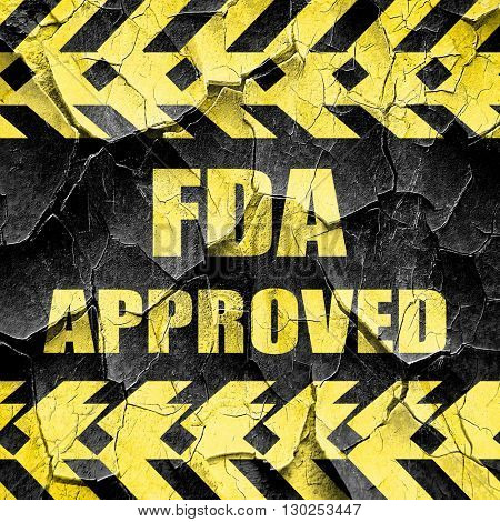 FDA approved background, black and yellow rough hazard stripes