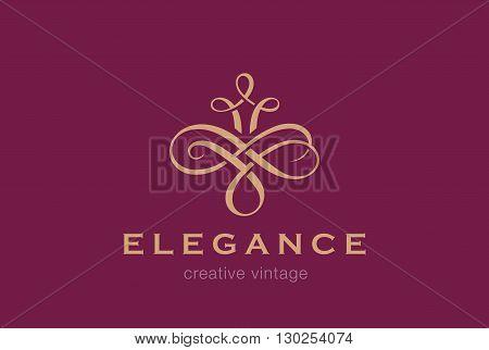 Vintage Logo vector Vignette luxury fashion jewelry concept icon