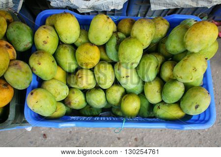 Stock Photo of Mango in Plastic Baske