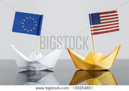 Paper Ship With Usa And European Flag