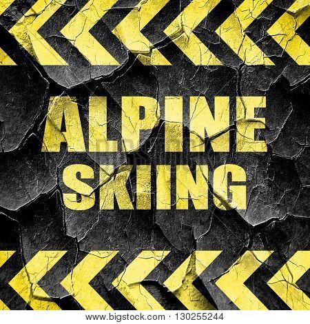 alpine skiing sign background, black and yellow rough hazard str