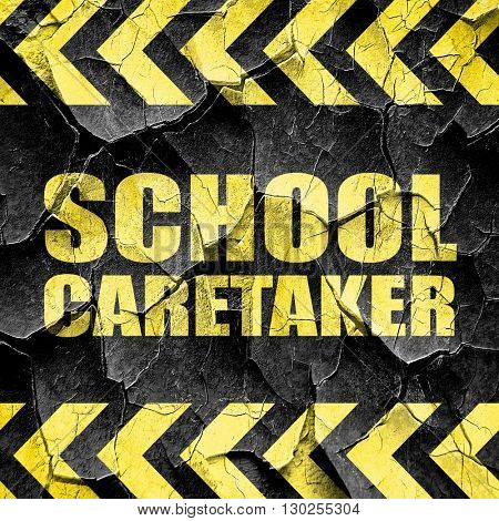 school caretaker, black and yellow rough hazard stripes