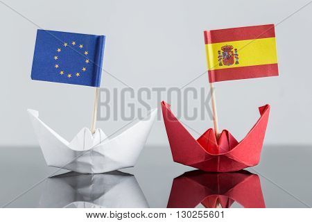 Paper Ship With Spanish And European Flag