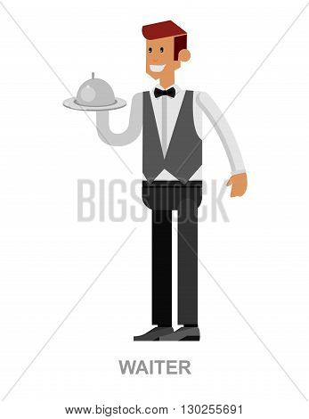 Vector detailed characters Young handsome waiter at restaurant isolated. Waitress image, Waitress isolated. Waiter isolated, Waiter image, Waiter concept, Waitress illustration poster
