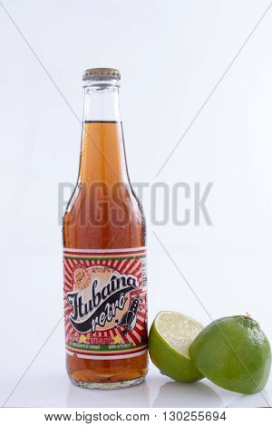 São Paulo Brazil - MAY 14 2016: Photo of a 350ml bottle of Tubaina. Tubaina is a very traditional carbonated beverage from Brazil.