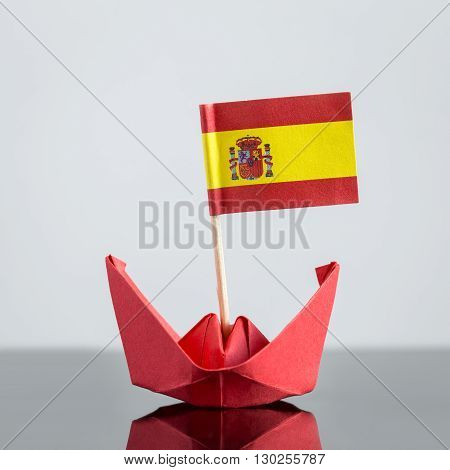 Paper Ship With Spanish Flag