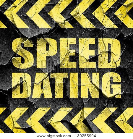 speed dating, black and yellow rough hazard stripes