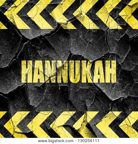 hannukah, black and yellow rough hazard stripes