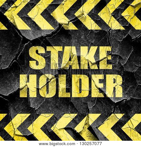 stakeholder, black and yellow rough hazard stripes