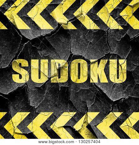 Sudoku, black and yellow rough hazard stripes