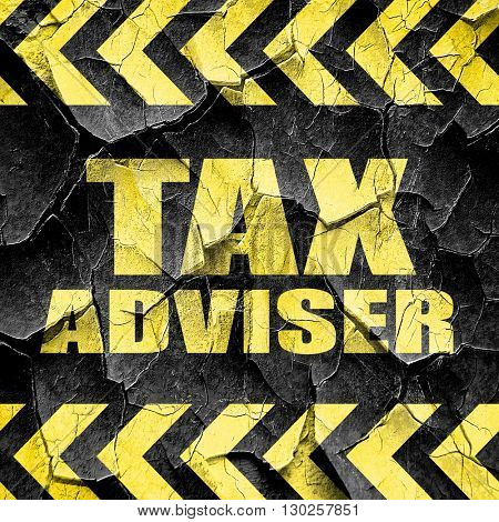 tax adviser, black and yellow rough hazard stripes