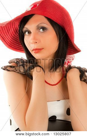 Beautiful Retro-styled Woman Looking To The Camera
