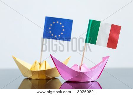 Paper Ship With Italian And European Flag