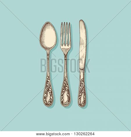 Silverware: fork, knife and spoon - vintage engraved illustration