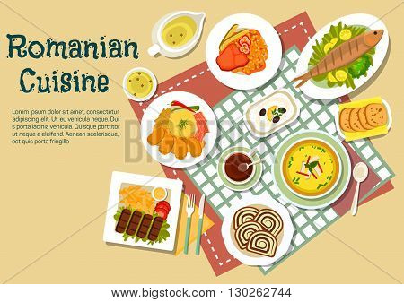 Popular festive dishes of romanian cuisine flat icon with grilled ground meat and fish, stuffed cabbage rolls with bacon, chili peppers and mamaliga, tripe soup and bean stew with beef, eggplant salad and elder flowers lemonade with walnut sweet bread coz
