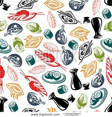 Oriental seafood dishes sketched seamless pattern background for asian cuisine or culture themes design with roll and nigiri sushi, bowls of noodle soup and vegetable prawn salad, sake sets and spicy fried shrimps