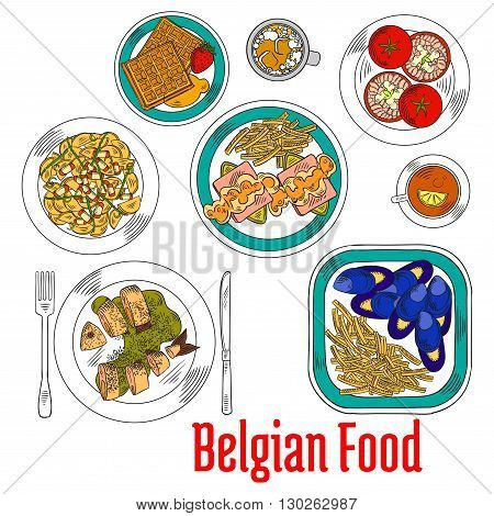 Native dishes of belgian cuisine sketch with blue mussels and endives cheese casserole served with french fries, eel in green sauce and tomatoes stuffed shrimp salad, potato warm salad, hot chocolate and tea with waffles topped with honey and strawberries