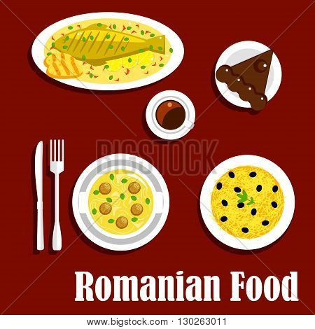 Savory romanian dinner icon with flat symbols of grilled fish and corn mamaliga, meatball noodle soup and potato casserole topped with cheese and olive fruits, cup of coffee with chocolate cake amandine