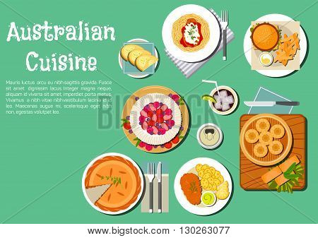 Iconic australian food icon with meat pie, cod roe sandwich with sweet potato, pasta topped with kangaroo steak, hamburger, soda bread damper and steamed dumplings, pavlova cake topped with fresh fruits, beer and soft drinks. Flat style