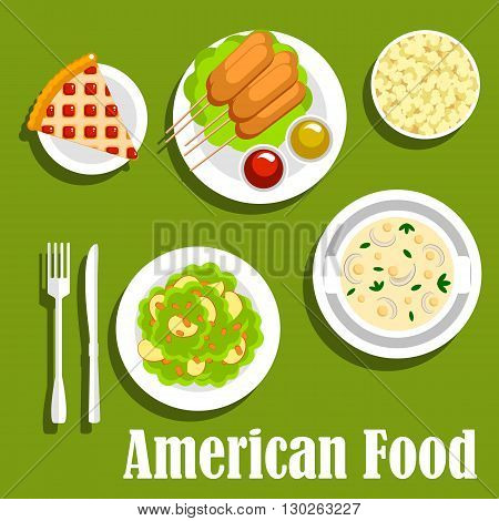 American lunch with fast food snacks and desserts icon with corn dogs, served with ketchup and mustard sauces, cream cheese soup and apple salad topped with nuts, berry pie and popcorn. Flat style