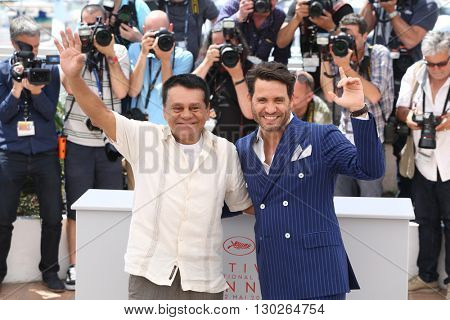 Roberto Duran,  Edgar Ramirez  at the photocall for Hands Of Stone at the 69th Festival de Cannes. May 16, 2016  Cannes, France