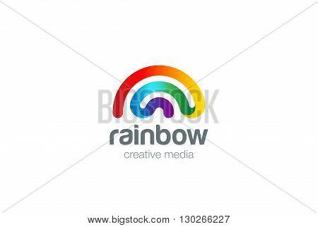Rainbow Logo design vector template. Wifi signal friendly style Logotype concept icon