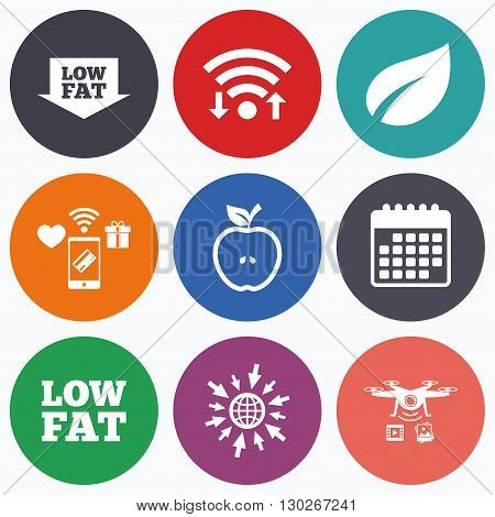 Wifi, mobile payments and drones icons. Low fat arrow icons. Diets and vegetarian food signs. Apple with leaf symbol. Calendar symbol.