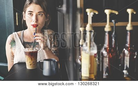 Young Woman Drinking Coffee Coffeeshop Concept