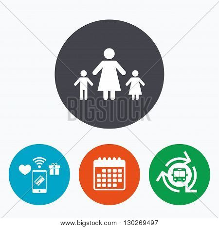 One-parent family with two children sign icon. Mother with son and daughter symbol. Mobile payments, calendar and wifi icons. Bus shuttle.