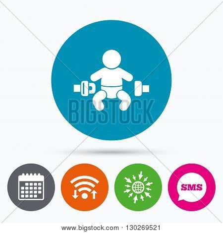 Wifi, Sms and calendar icons. Fasten seat belt sign icon. Child safety in accident. Go to web globe.