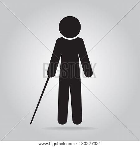 Blind man with stick symbol vector illustration