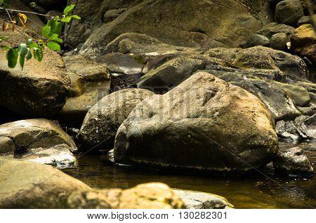 Detail of rocks in water at Black river gorge, west Serbia