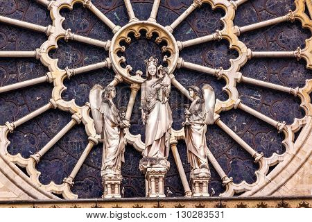 Mary Angels Facade Rose Window Notre Dame Cathedral Paris France. Notre Dame was built between 1163 and 1250AD.