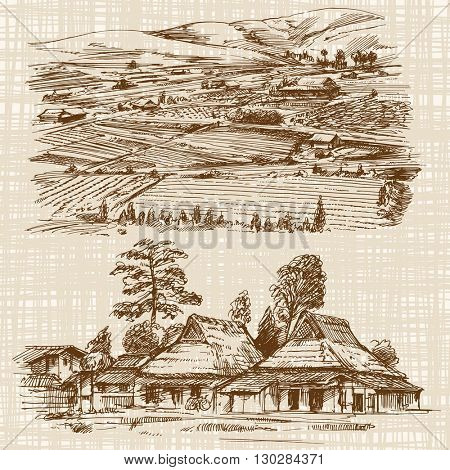 Asian landscape with rural houses. Hand drawn illustration.