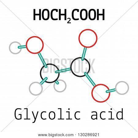 C2H4O3 glycolic acid 3d molecule isolated on white