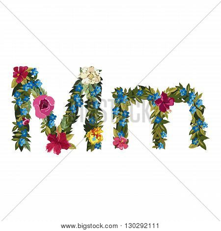M letter. Flower capital alphabet. Colorful font. Uppercase and lowercase. Vector illustration. Grotesque style. Floral alphabet.