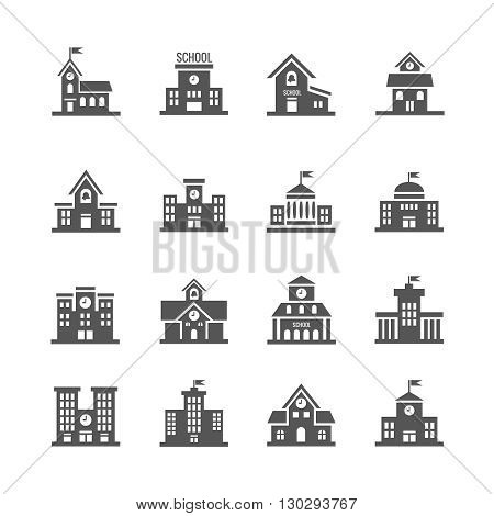 School building vector icons set. Urban school architecture and structure school institution illustration