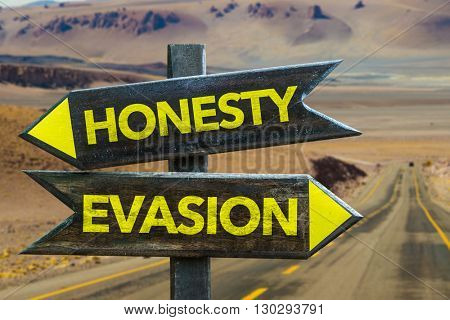 Honesty - Evasion crossroad in a desert background