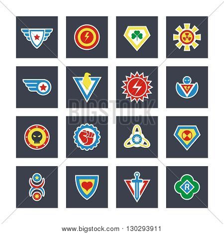 Superhero color vector badges, emblems, logos. Superhero badge icon, power and protect insignia for superhero illustration