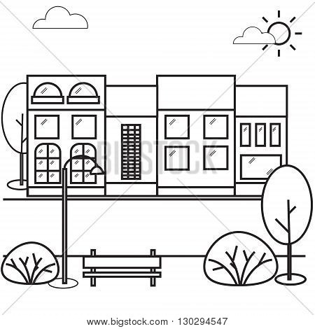 Street house vector illustration. Buildings trees bushes the sun is shining street lamp bench and clouds.