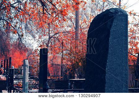 very old cemetery in the forest, marble gravestones