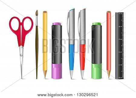 set of colored engineering and office pens and pencils