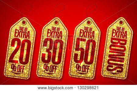 Golden take an extra bonus coupons tags set - 20 percents,30 percents, 50 percents and extra bonus