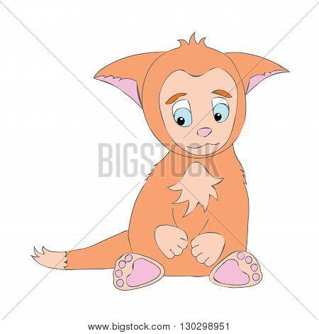 Little cute animal kitten. Cartoon, shy, sad animal kitty. Animal kitten with big ears. Orange animal kitten.