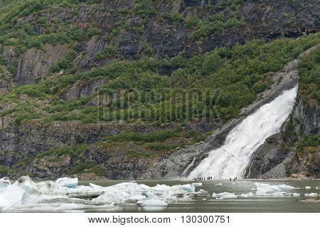 A Waterfall Close To Mendenhall Glacier Near Juneau, Alaska