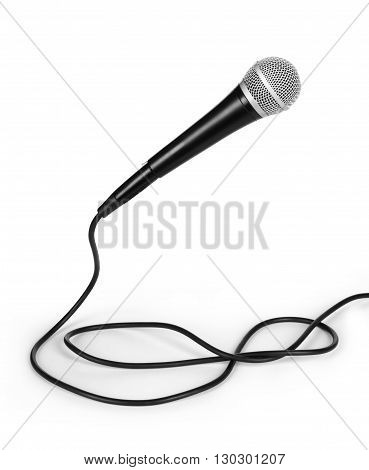 dynamic mic with a curled cable over white
